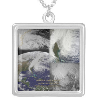 Satellite Collage View of Hurricane Sandy Square Pendant Necklace