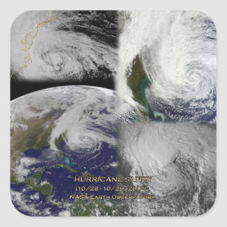 Satellite Collage View of Hurricane Sandy Square Sticker