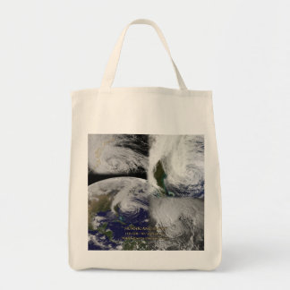 Satellite Collage View of Hurricane Sandy Tote Bag