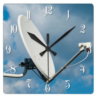 Satellite dish square wall clock