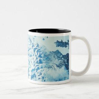 Satellite Image of a Mountain Range Two-Tone Coffee Mug
