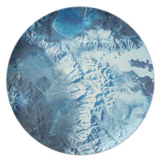 Satellite Image of a Mountain Range Plates