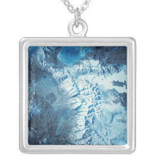 Satellite Image of a Mountain Range Silver Plated Necklace