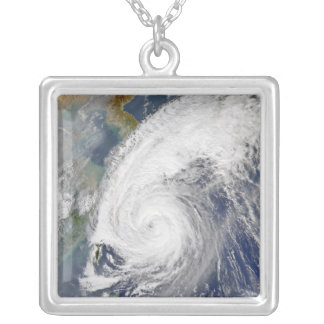 Satellite image of a typhoon silver plated necklace