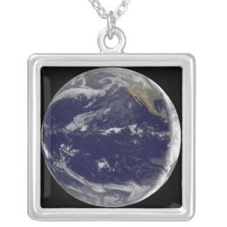 Satellite image of Earth 2 Silver Plated Necklace