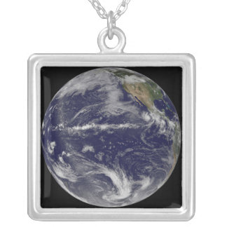 Satellite image of Earth Silver Plated Necklace