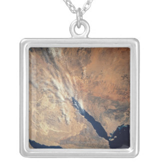 Satellite Image of Land Silver Plated Necklace