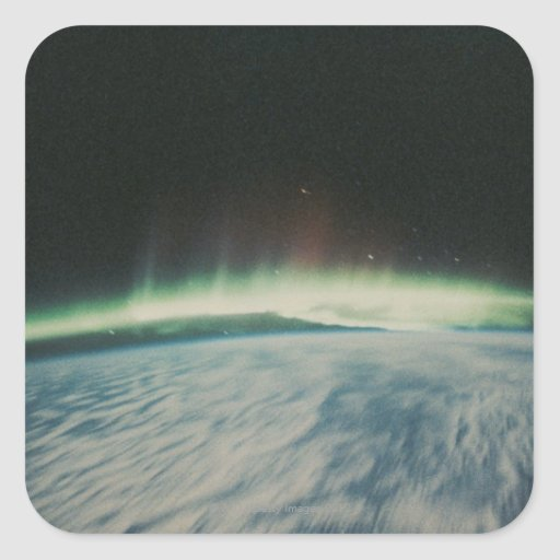 Satellite Image of Northern Lights Square Stickers