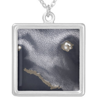 Satellite image of Semisopochnoi Island Silver Plated Necklace