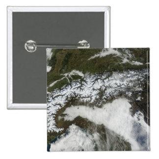 Satellite image of The Alps mountain range Pinback Button