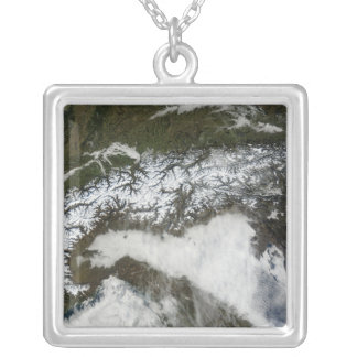 Satellite image of The Alps mountain range Silver Plated Necklace