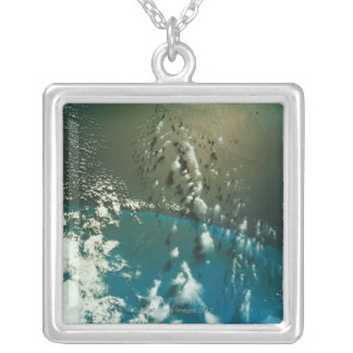 Satellite Image of The Florida Strait Silver Plated Necklace