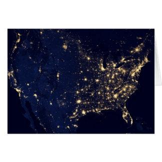 Satellite Image of U.S. at night Card