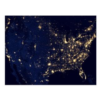 Satellite Image of U.S. at night Postcard