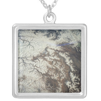 Satellite Image Silver Plated Necklace