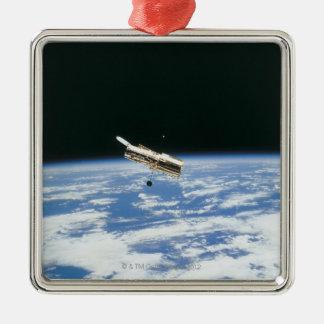 Satellite in Orbit 3 Metal Ornament