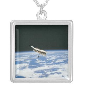 Satellite in Orbit 3 Square Pendant Necklace