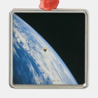Satellite in Orbit Metal Ornament