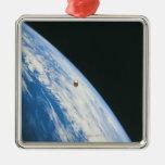 Satellite in Orbit Square Metal Christmas Ornament