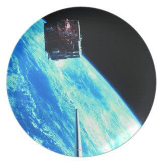 Satellite Orbiting Earth 3 Dinner Plates
