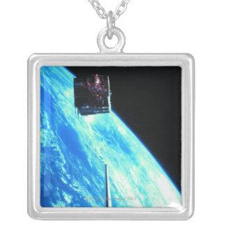 Satellite Orbiting Earth 3 Square Pendant Necklace