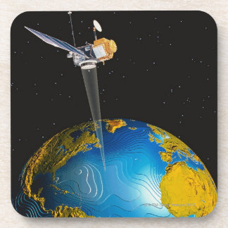Satellite Orbiting Earth 6 Drink Coaster