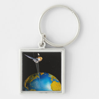 Satellite Orbiting Earth 6 Keychain