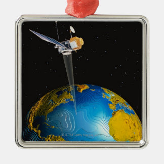 Satellite Orbiting Earth 6 Metal Ornament