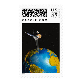 Satellite Orbiting Earth 6 Postage Stamp