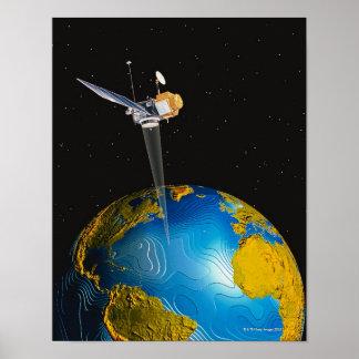 Satellite Orbiting Earth 6 Poster