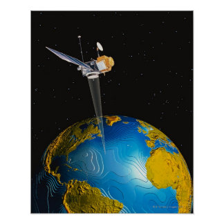 Satellite Orbiting Earth 6 Poster