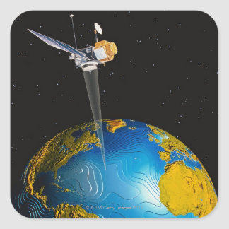 Satellite Orbiting Earth 6 Square Sticker