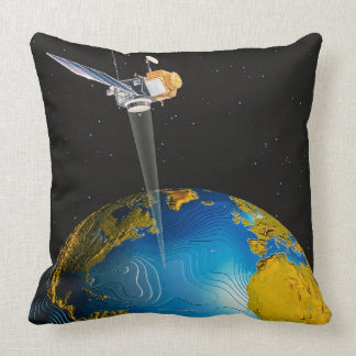 Satellite Orbiting Earth 6 Throw Pillow