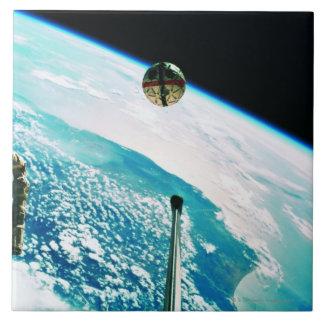 Satellite Orbiting Earth 7 Ceramic Tile
