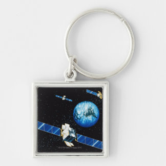 Satellite orbiting earth keychain