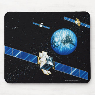 Satellite orbiting earth mouse pads