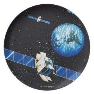 Satellite orbiting earth dinner plate
