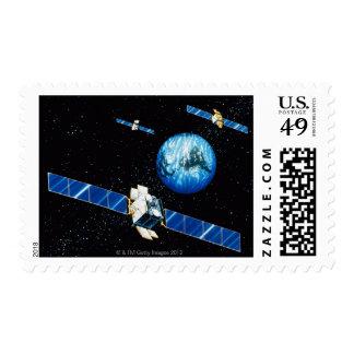 Satellite orbiting earth stamp