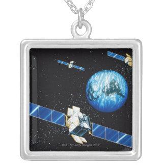 Satellite orbiting earth square pendant necklace