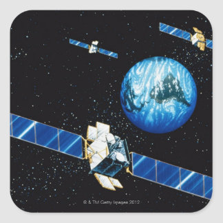 Satellite orbiting earth square sticker