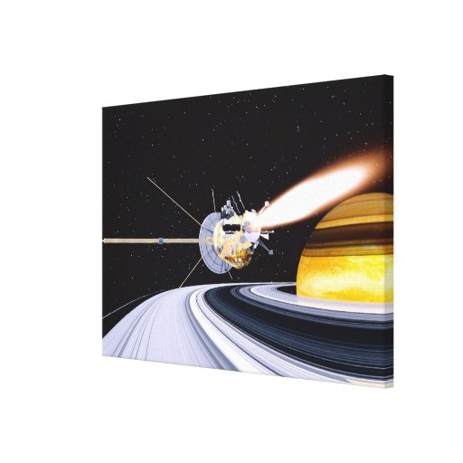 Satellite orbiting Saturn Canvas Print