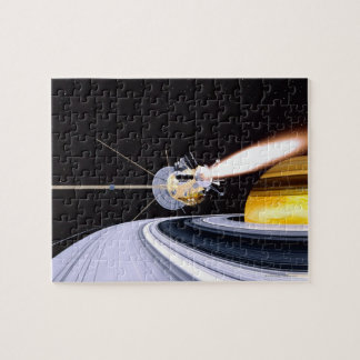 Satellite orbiting Saturn Jigsaw Puzzle