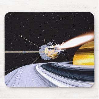 Satellite orbiting Saturn Mouse Pad
