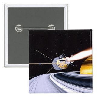 Satellite orbiting Saturn Pinback Button