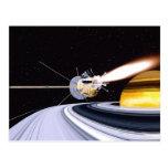Satellite orbiting Saturn Post Card