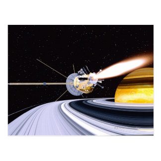 Satellite orbiting Saturn Postcard