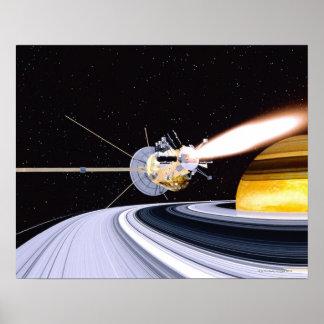 Satellite orbiting Saturn Poster