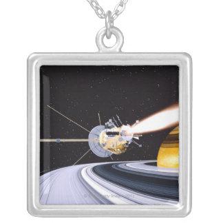 Satellite orbiting Saturn Square Pendant Necklace