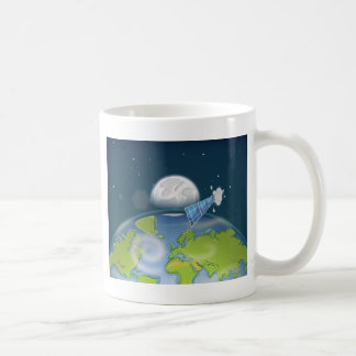 Satellite orbiting the planet Earth and Moon Coffee Mug