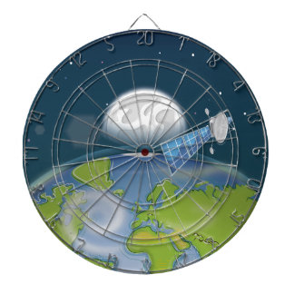 Satellite orbiting the planet Earth and Moon Dartboard With Darts